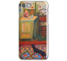 Dachshund in hallway, acrylic painting. iPhone Case/Skin