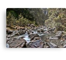 double waterfall in the south island of new zealand Metal Print