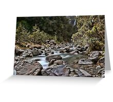 double waterfall in the south island of new zealand Greeting Card