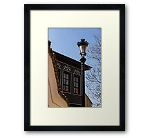 Perfectly Aligned - Intricate Ironwork Streetlight and Classic Revival House Framed Print
