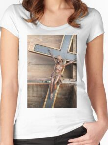 wooden crucifix Women's Fitted Scoop T-Shirt