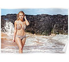 Sexy Bikini Model on Hawaiian Beach Poster