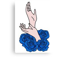 Hands and roses Canvas Print