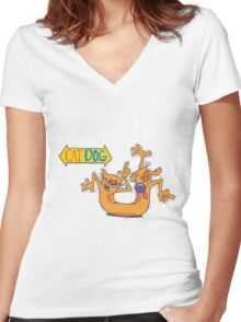 CatDog Women's Fitted V-Neck T-Shirt
