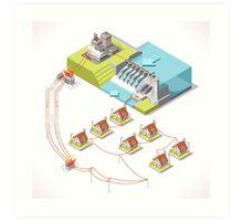 Energy Hydroelectric Power Isometric Art Print