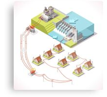 Energy Hydroelectric Power Isometric Metal Print