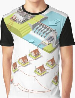Energy Hydroelectric Power Isometric Graphic T-Shirt