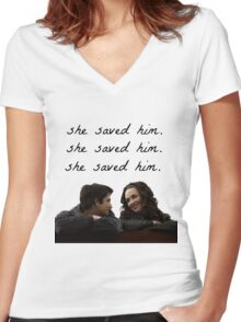 teen wolf - she saved him Women's Fitted V-Neck T-Shirt