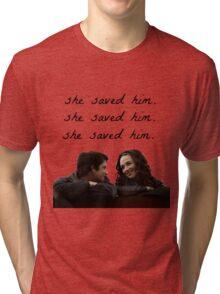 teen wolf - she saved him Tri-blend T-Shirt