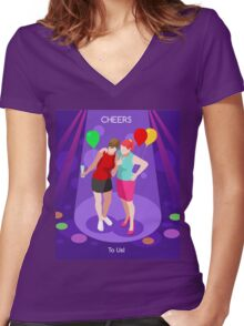 Team Party Best Friends Women's Fitted V-Neck T-Shirt