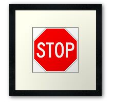 STOP original sign sticker Framed Print