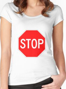 STOP original sign sticker Women's Fitted Scoop T-Shirt