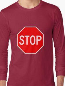 STOP original sign sticker Long Sleeve T-Shirt