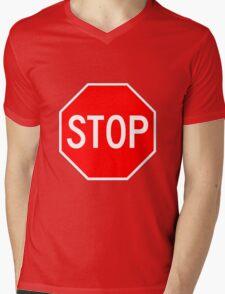 STOP original sign sticker Mens V-Neck T-Shirt