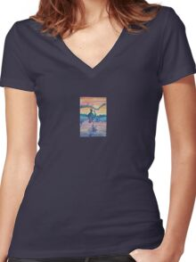 Smoking Guitarist on the Horizon  Women's Fitted V-Neck T-Shirt