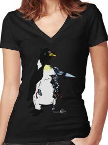 Pengunator Women's Fitted V-Neck T-Shirt