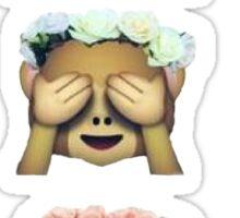 see no evil monkey emoji hipster flower crown tumblr Sticker