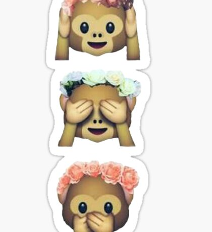 see no evil monkey emoji hipster flower crown tumblr Sticker