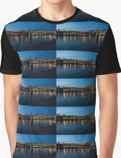 London Skyline Reflecting in the Thames River at Night Graphic T-Shirt