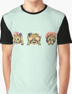 Monkey See No Evil Hipster Flower Crown Emoji Graphic T-Shirt