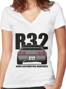Nissan Skyline R32 GTR Grey Version Women's Fitted V-Neck T-Shirt