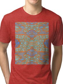 Orange and blue abstract pattern in eastern style Tri-blend T-Shirt