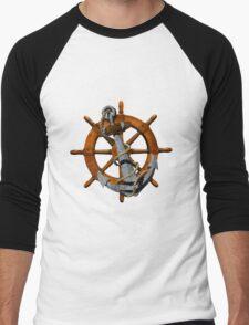 Captain's Wheel And Anchor Men's Baseball ¾ T-Shirt
