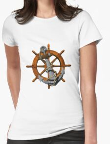 Captain's Wheel And Anchor Womens Fitted T-Shirt