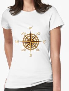 Vintage Compass Rose Womens Fitted T-Shirt