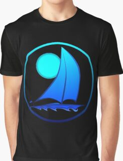 Blue Sailboat Graphic T-Shirt