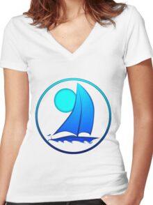 Blue Sailboat Women's Fitted V-Neck T-Shirt