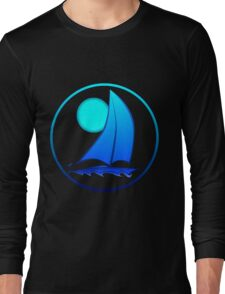Blue Sailboat Long Sleeve T-Shirt