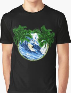 Surfer And Palm Trees Graphic T-Shirt