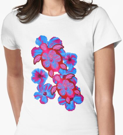 Tropical Honu And Hibiscus Womens Fitted T-Shirt