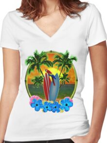 Parrot And Surfboards Women's Fitted V-Neck T-Shirt