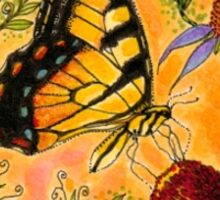 Tiger Swallowtail And Coneflowers Sticker