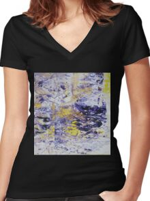 Path to the Light - Original Wall Modern Abstract Art Painting Original mixed media Women's Fitted V-Neck T-Shirt