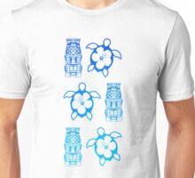 Blue Honu And Tiki Masks Unisex T-Shirt