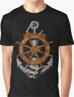 Nautical Ships Wheel And Anchor Graphic T-Shirt