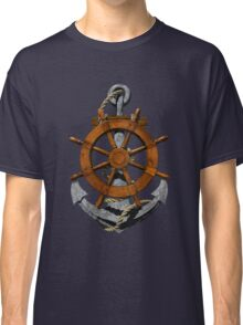 Nautical Ships Wheel And Anchor Classic T-Shirt