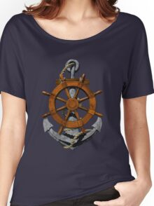 Nautical Ships Wheel And Anchor Women's Relaxed Fit T-Shirt