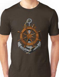 Nautical Ships Wheel And Anchor Unisex T-Shirt