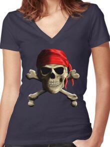 Skull And Crossbones Women's Fitted V-Neck T-Shirt