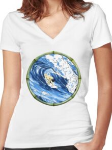 Surfing The Pipe Women's Fitted V-Neck T-Shirt