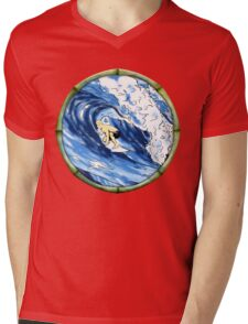 Surfing The Pipe Mens V-Neck T-Shirt