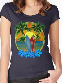 Sunset And Surfboards Women's Fitted Scoop T-Shirt