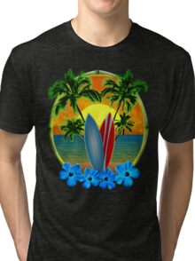 Sunset And Surfboards Tri-blend T-Shirt