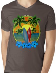 Sunset And Surfboards Mens V-Neck T-Shirt