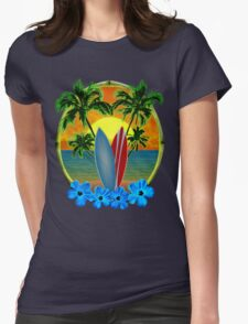 Sunset And Surfboards Womens Fitted T-Shirt