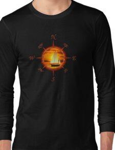 Sailboat And Compass Long Sleeve T-Shirt